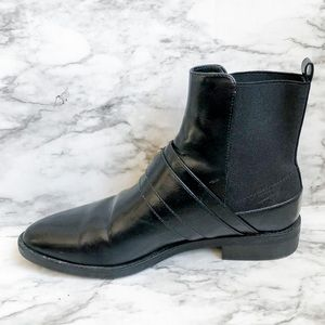 Zara Black Leather Moto Ankle Boot